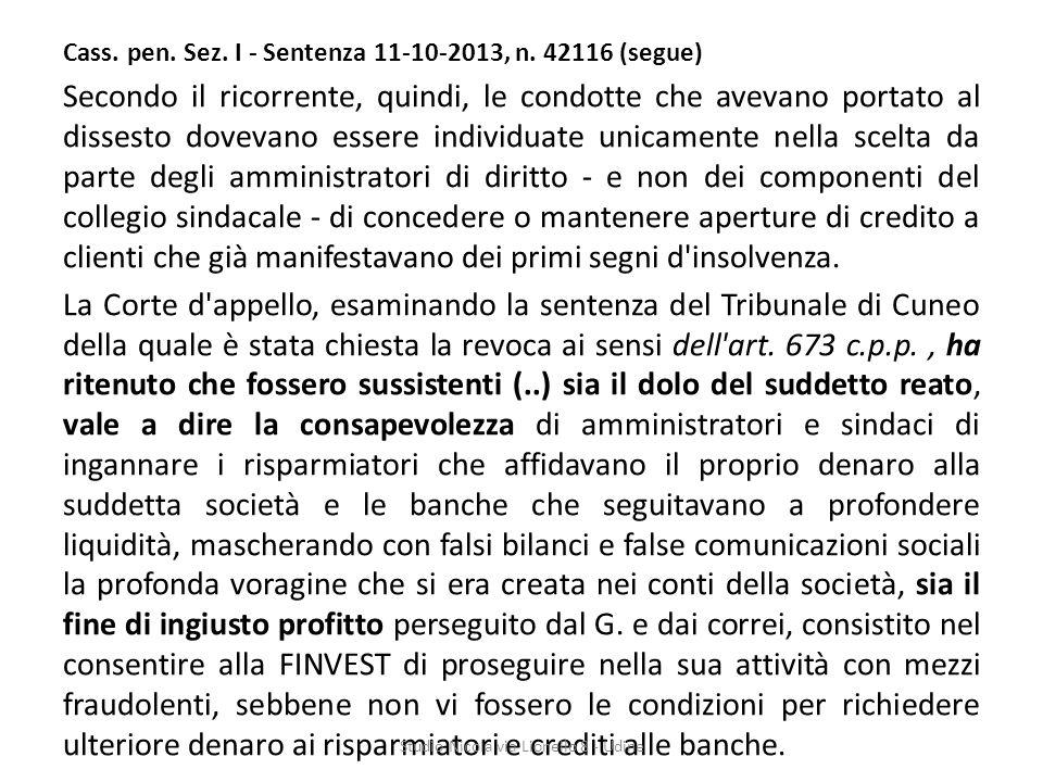 Cass.pen. Sez. I - Sentenza 11-10-2013, n.