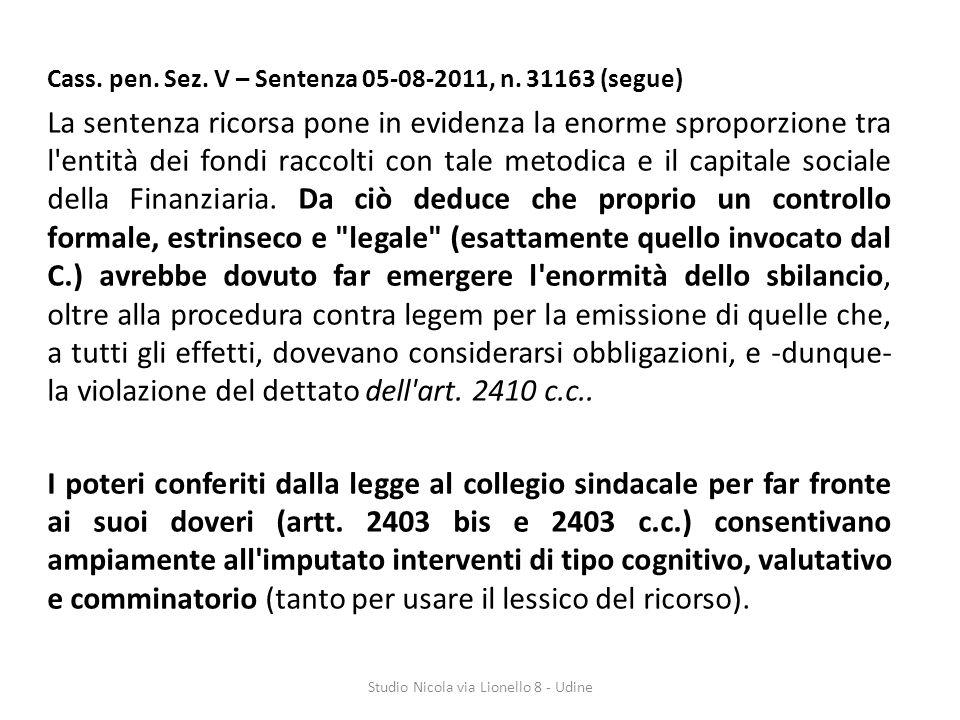 Cass.pen. Sez. V – Sentenza 05-08-2011, n.