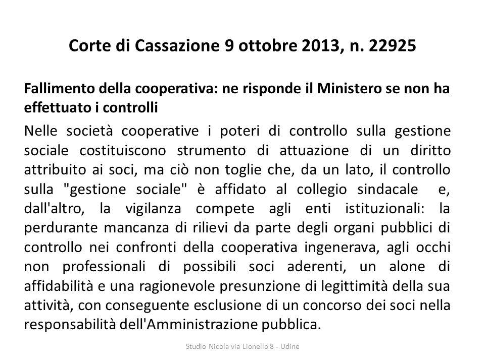 Corte di Cassazione 9 ottobre 2013, n.