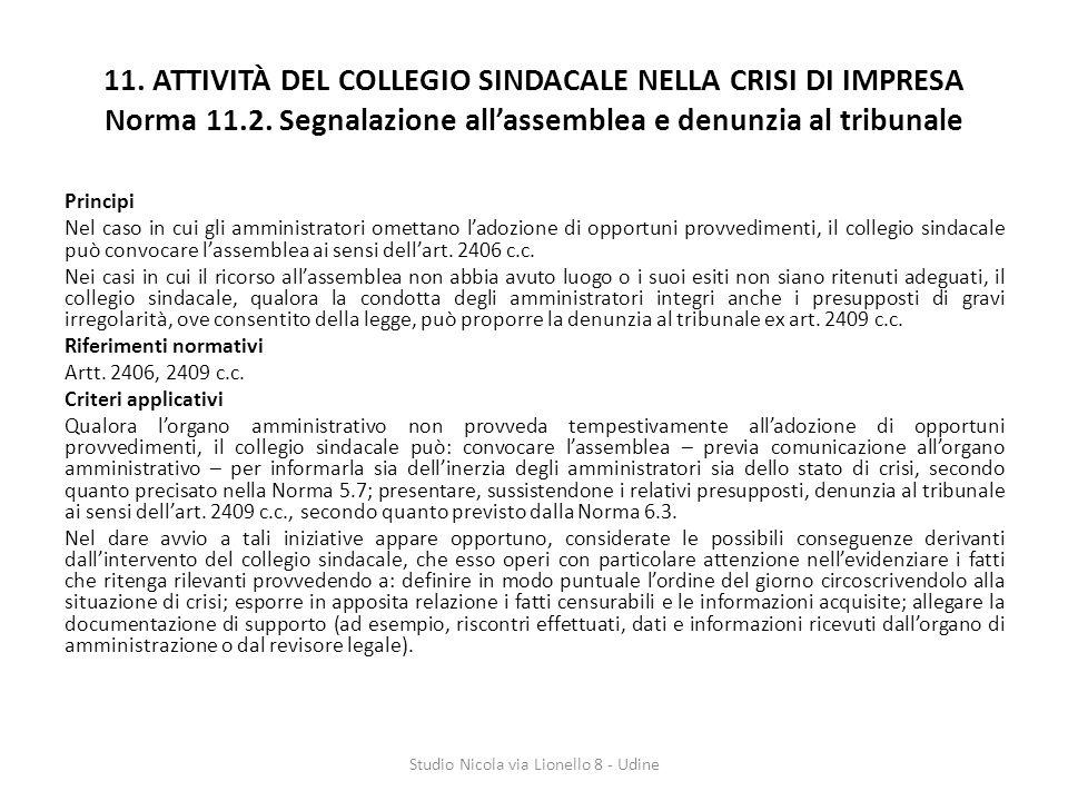 11.ATTIVITÀ DEL COLLEGIO SINDACALE NELLA CRISI DI IMPRESA Norma 11.2.