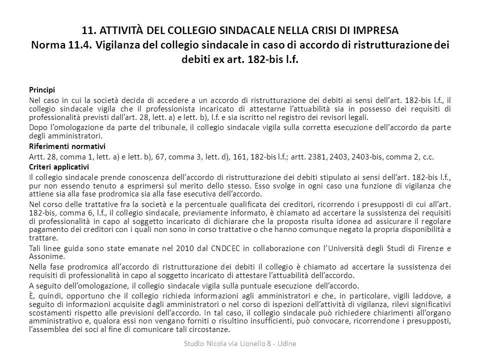 11.ATTIVITÀ DEL COLLEGIO SINDACALE NELLA CRISI DI IMPRESA Norma 11.4.