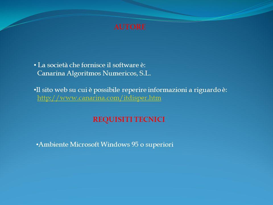 AUTORE La società che fornisce il software è: Canarina Algoritmos Numericos, S.L.