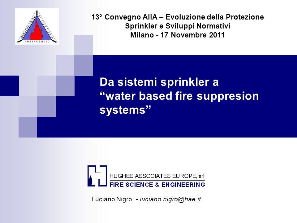 Da sistemi sprinkler a water based fire suppresion systems 13° Convegno AIIA – Evoluzione della Protezione Sprinkler e Sviluppi Normativi Milano - 17
