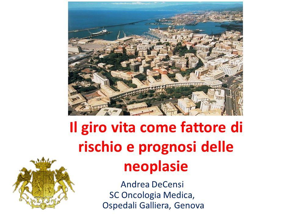 Il giro vita come fattore di rischio e prognosi delle neoplasie Andrea DeCensi SC Oncologia Medica, Ospedali Galliera, Genova