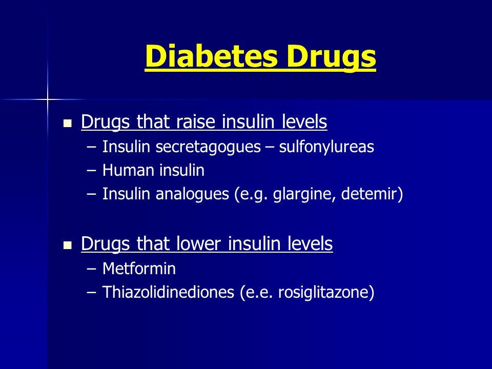 Diabetes Drugs Drugs that raise insulin levels –Insulin secretagogues – sulfonylureas –Human insulin –Insulin analogues (e.g. glargine, detemir) Drugs