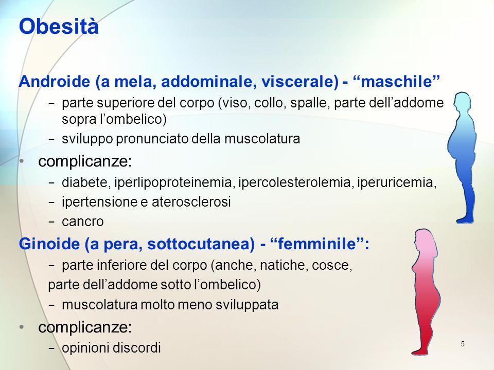 5 Obesità Androide (a mela, addominale, viscerale) - maschile parte superiore del corpo (viso, collo, spalle, parte delladdome sopra lombelico) svilup
