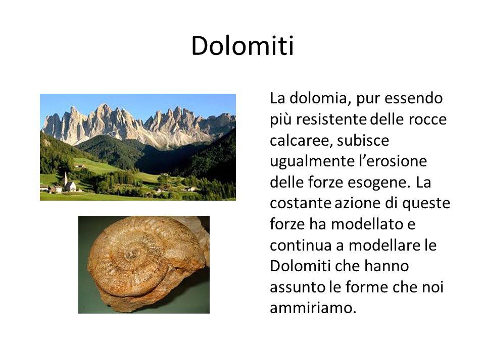 Dolomiti La dolomia, pur essendo più resistente delle rocce calcaree, subisce ugualmente lerosione delle forze esogene. La costante azione di queste f