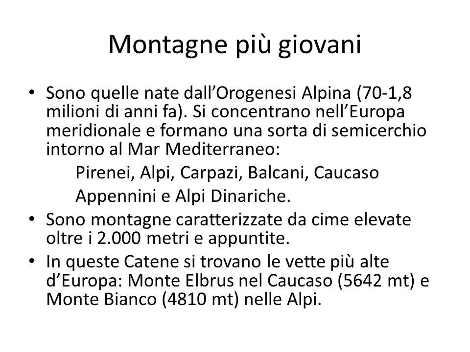Schema montagne europee OROGENESI CALEDONIANA (da Caledonia=Scozia) OROGENESI ERCINICA (da Selva Ercina, tra Reno e Danubio) OROGENESI ALPINA (da Alpi) 600-250 milioni di anni fa260-200 milioni di anni fa70-18 milioni di anni fa ha dato origine CATENE MONTUOSE EUROPA SETTENTIORNALE MASSICCI EUROPA CENTRALE CATENE MONTUOSE EUROPA MERIODIONALE ALPI SCANDINAVE MONTI CANTABRICI e SIERRE in Spagna PIRENEI MONTI GRAMPIANI, PENNINI E CAMBRICI MASSICCIO CENTRALE e ARMORICANO in Francia ALPI MASSICCIO RENANO, VOSGI, GIURA CARPAZI SELVA BOEMA, SUDETI, MONTI METALLIFERI BALCANI MONTI URALI CAUCASO APPENNINI e ALPI DINARICHE Forme arrotondate Non superano i 2000 metri Vette più elevate e cime aguzze