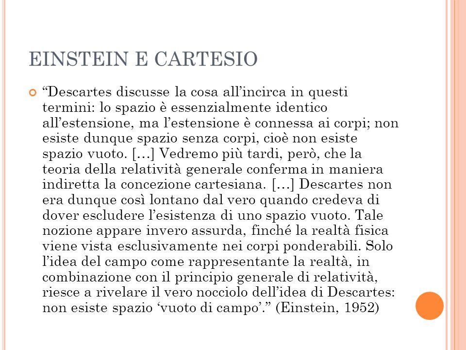EINSTEIN E CARTESIO Descartes discusse la cosa allincirca in questi termini: lo spazio è essenzialmente identico allestensione, ma lestensione è conne