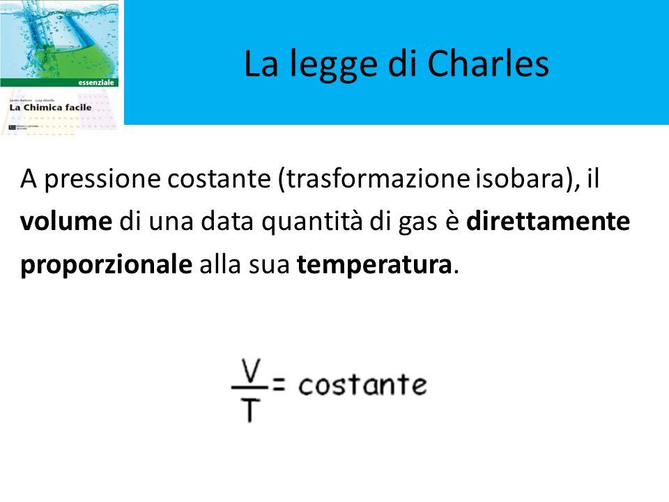 La legge di Charles A pressione costante (trasformazione isobara), il volume di una data quantità di gas è direttamente proporzionale alla sua tempera