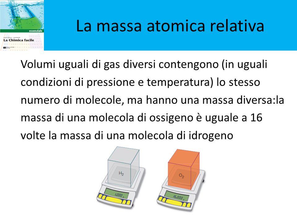 La massa atomica relativa Volumi uguali di gas diversi contengono (in uguali condizioni di pressione e temperatura) lo stesso numero di molecole, ma h
