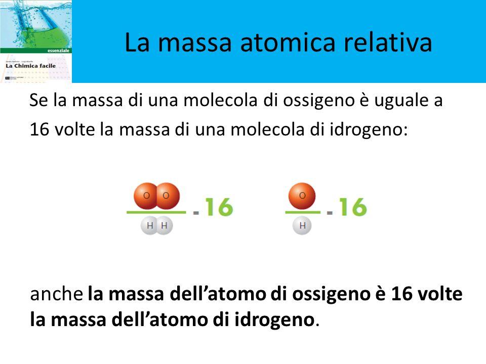 Se la massa di una molecola di ossigeno è uguale a 16 volte la massa di una molecola di idrogeno: La massa atomica relativa anche la massa dellatomo d