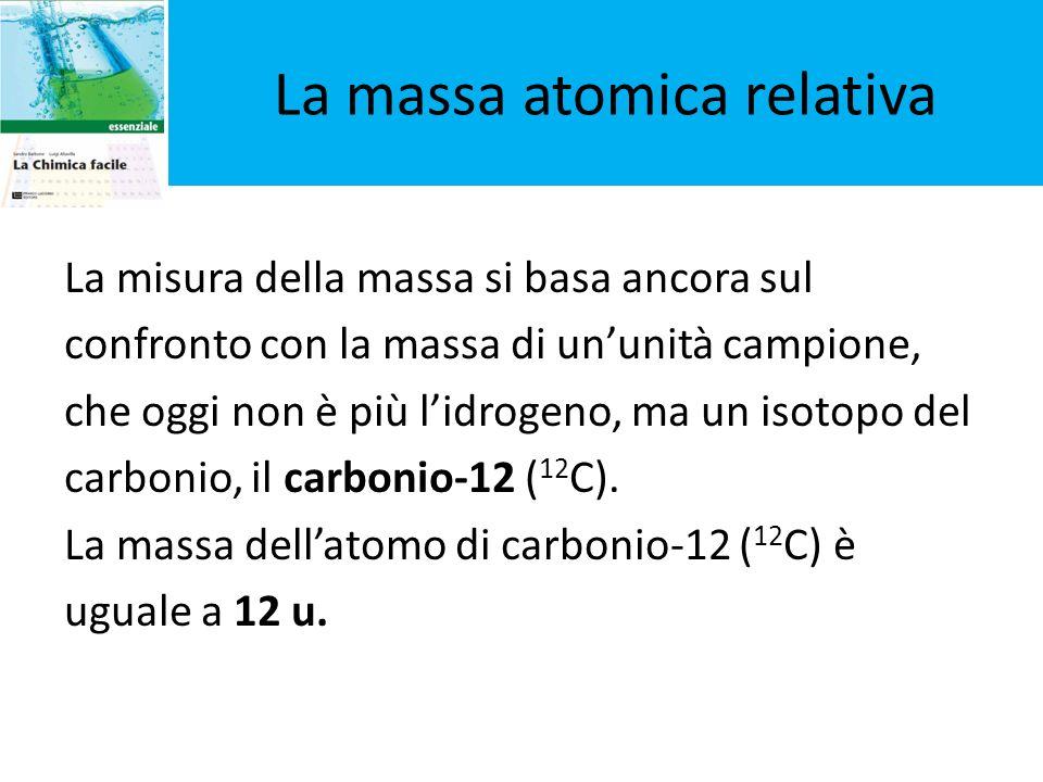 La misura della massa si basa ancora sul confronto con la massa di ununità campione, che oggi non è più lidrogeno, ma un isotopo del carbonio, il carb