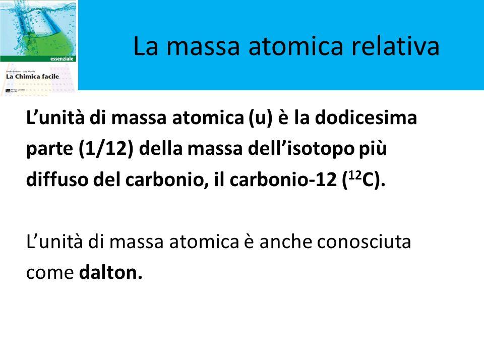La massa atomica relativa Lunità di massa atomica (u) è la dodicesima parte (1/12) della massa dellisotopo più diffuso del carbonio, il carbonio-12 (