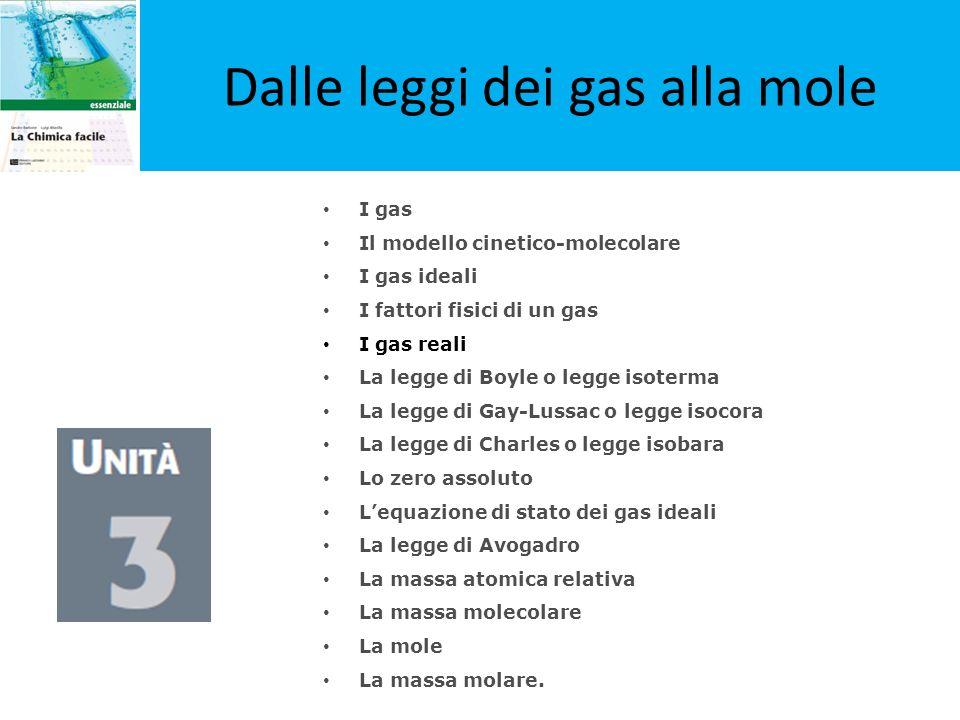 I gas Il modello cinetico-molecolare I gas ideali I fattori fisici di un gas I gas reali La legge di Boyle o legge isoterma La legge di Gay-Lussac o l
