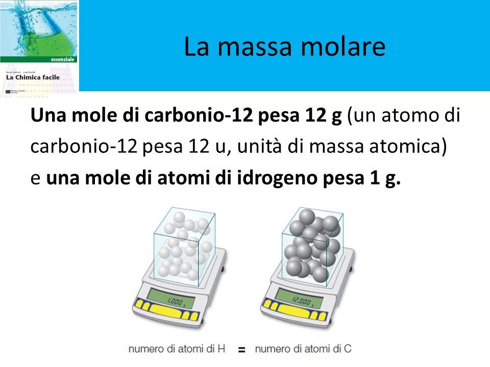 Una mole di carbonio-12 pesa 12 g (un atomo di carbonio-12 pesa 12 u, unità di massa atomica) e una mole di atomi di idrogeno pesa 1 g. La massa molar