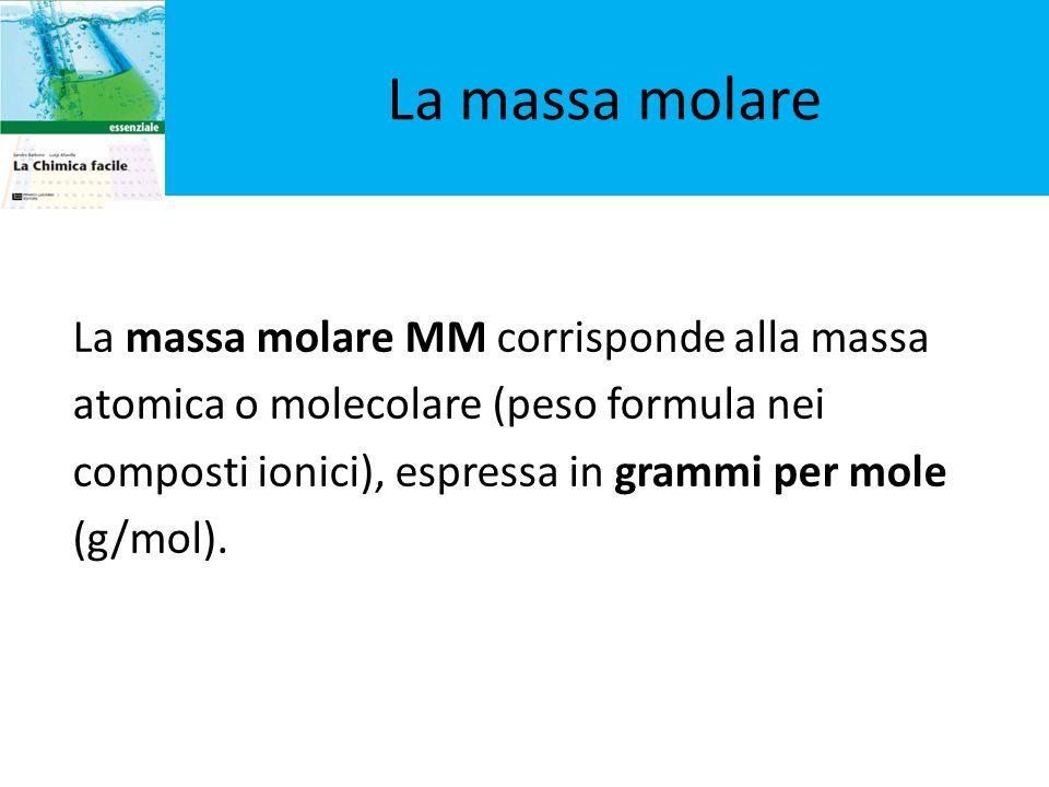 La massa molare MM corrisponde alla massa atomica o molecolare (peso formula nei composti ionici), espressa in grammi per mole (g/mol). La massa molar