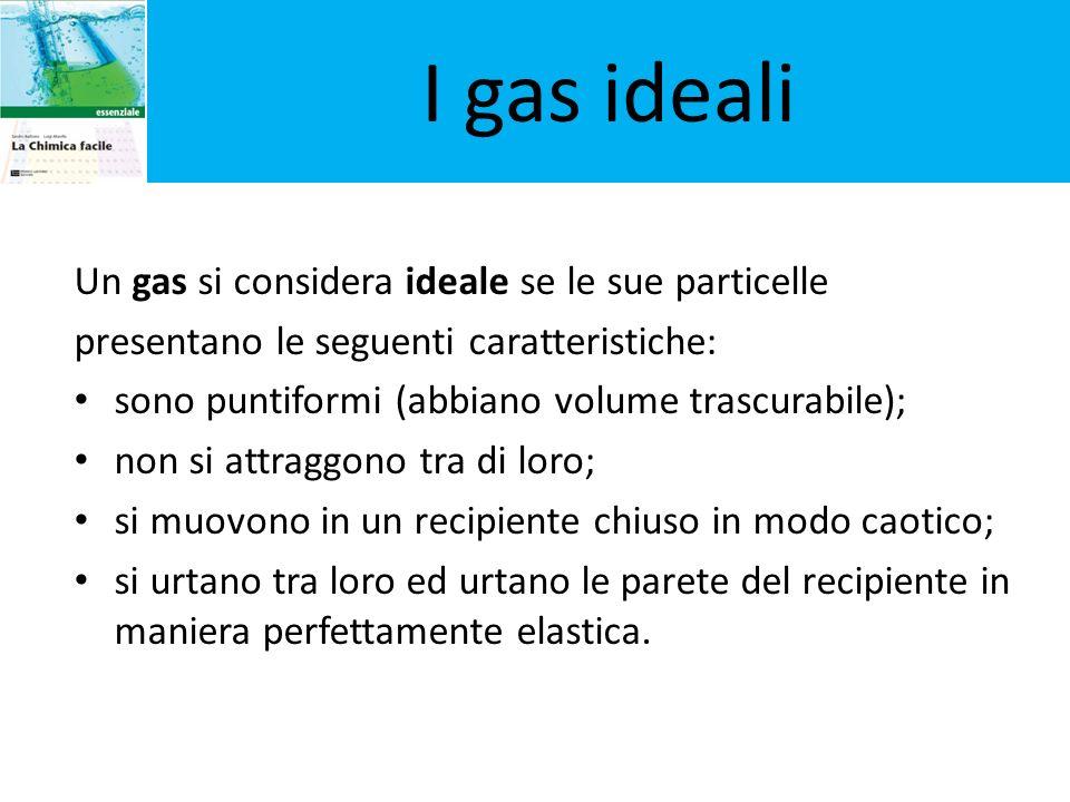 I gas ideali Un gas si considera ideale se le sue particelle presentano le seguenti caratteristiche: sono puntiformi (abbiano volume trascurabile); no