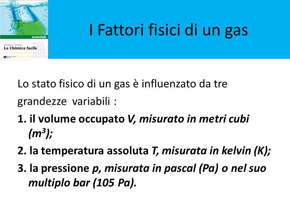I Fattori fisici di un gas Lo stato fisico di un gas è influenzato da tre grandezze variabili : 1. il volume occupato V, misurato in metri cubi (m 3 )