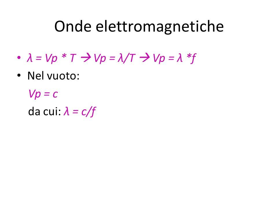 Onde elettromagnetiche λ = Vp * T Vp = λ/T Vp = λ *f Nel vuoto: Vp = c da cui: λ = c/f