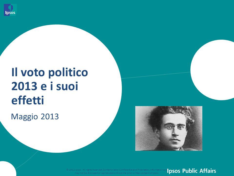 Il voto politico 2013 e i suoi effetti Maggio 2013 © 2012 Ipsos. All rights reserved. Contains Ipsos' Confidential and Proprietary information and may