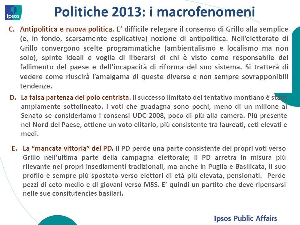 Politiche 2013: i macrofenomeni C.Antipolitica e nuova politica. E difficile relegare il consenso di Grillo alla semplice (e, in fondo, scarsamente es