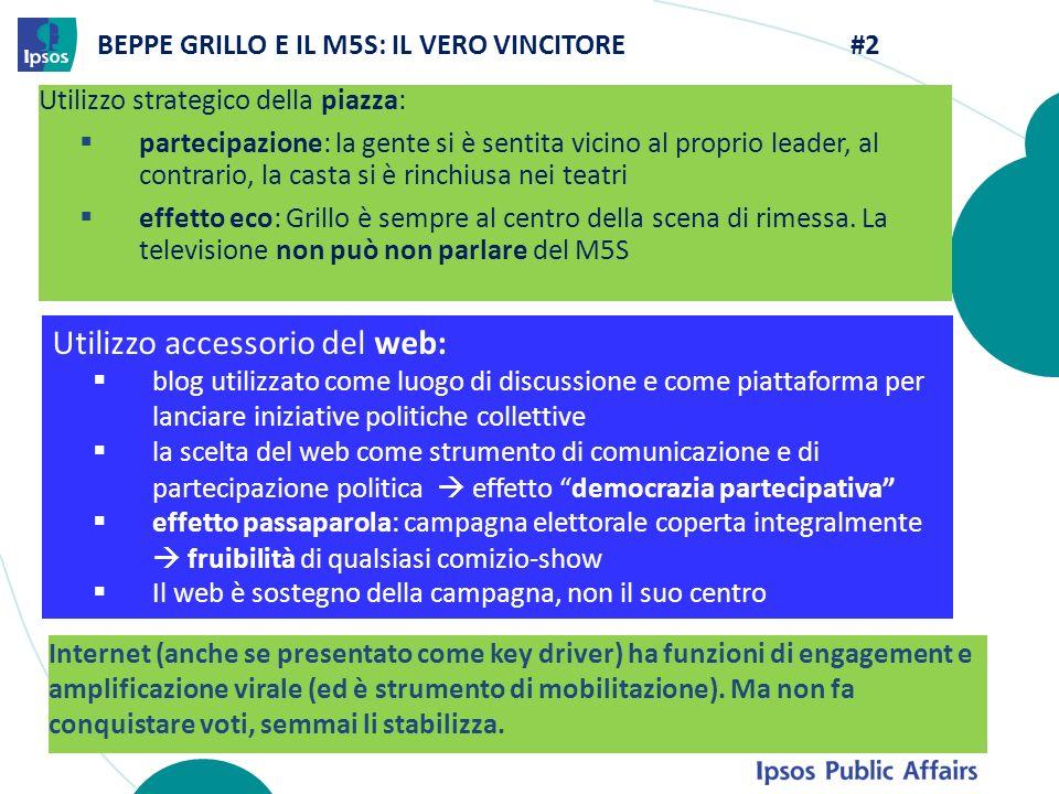 BEPPE GRILLO E IL M5S: IL VERO VINCITORE #2 Utilizzo strategico della piazza: partecipazione: la gente si è sentita vicino al proprio leader, al contr