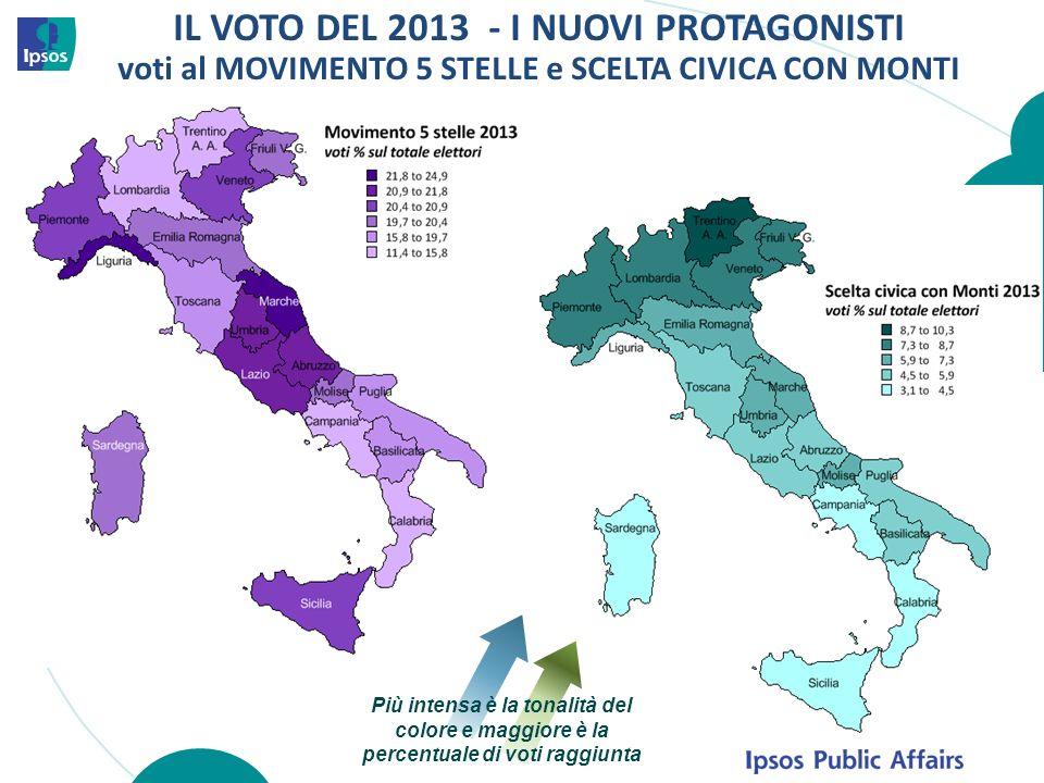 IL VOTO DEL 2013 - I NUOVI PROTAGONISTI voti al MOVIMENTO 5 STELLE e SCELTA CIVICA CON MONTI Più intensa è la tonalità del colore e maggiore è la perc