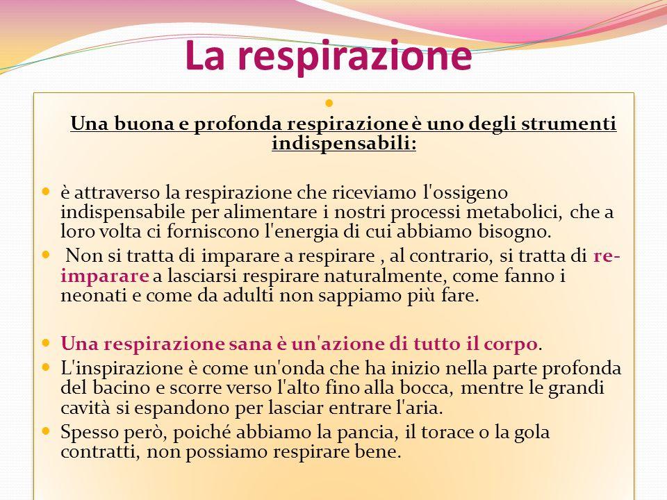 La respirazione Una buona e profonda respirazione è uno degli strumenti indispensabili: è attraverso la respirazione che riceviamo l'ossigeno indispen