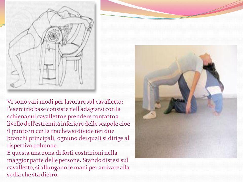 Vi sono vari modi per lavorare sul cavalletto: lesercizio base consiste nelladagiarsi con la schiena sul cavalletto e prendere contatto a livello dell