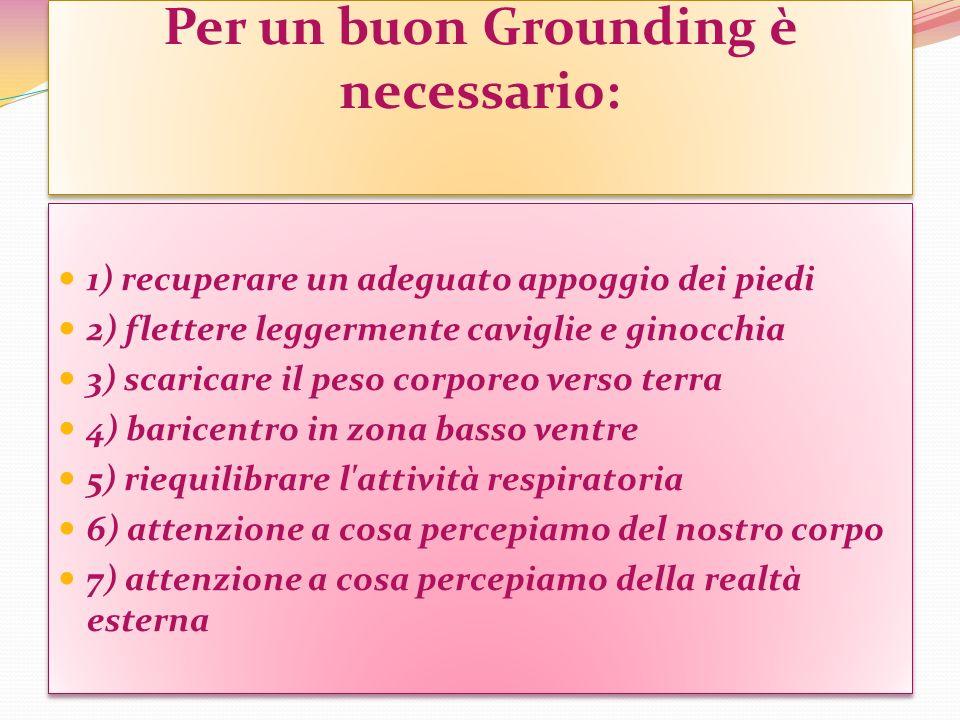 Per un buon Grounding è necessario: 1) recuperare un adeguato appoggio dei piedi 2) flettere leggermente caviglie e ginocchia 3) scaricare il peso cor
