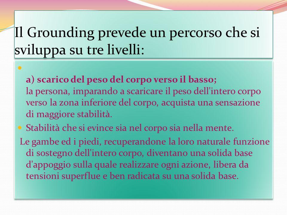 Il Grounding prevede un percorso che si sviluppa su tre livelli: a) scarico del peso del corpo verso il basso; la persona, imparando a scaricare il pe