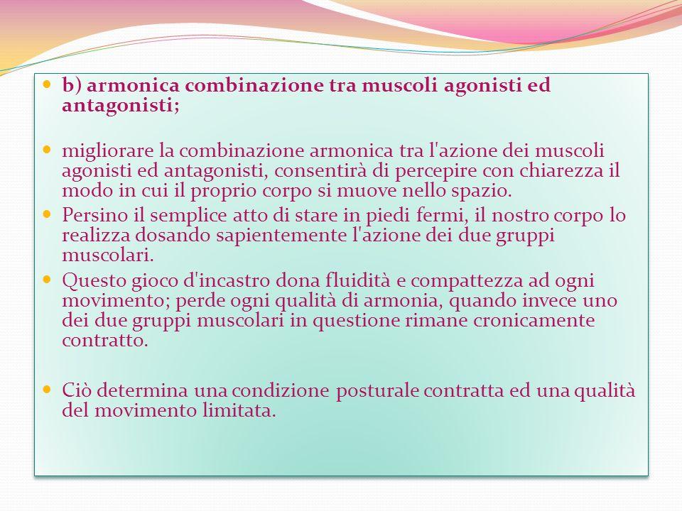 b) armonica combinazione tra muscoli agonisti ed antagonisti; migliorare la combinazione armonica tra l'azione dei muscoli agonisti ed antagonisti, co