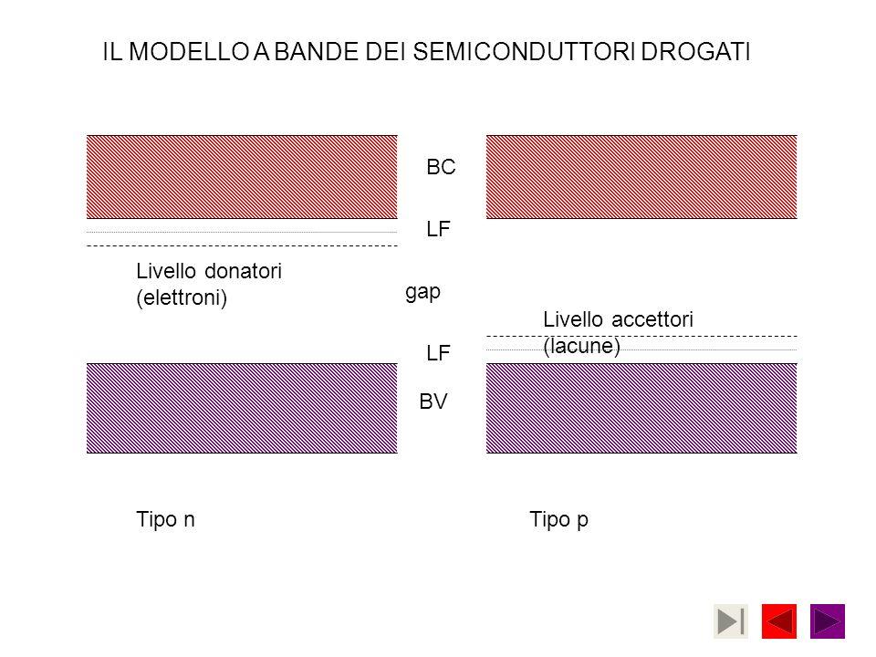 Tipo nTipo p BC BV LF gap Livello donatori (elettroni) Livello accettori (lacune) IL MODELLO A BANDE DEI SEMICONDUTTORI DROGATI