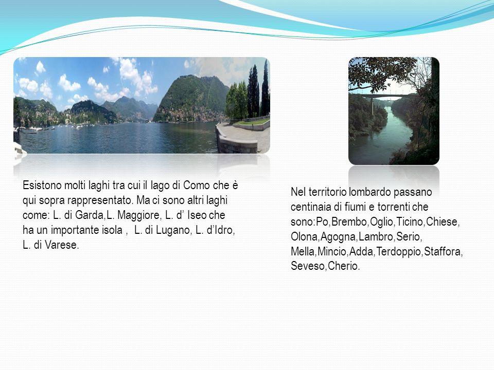 Esistono molti laghi tra cui il lago di Como che è qui sopra rappresentato. Ma ci sono altri laghi come: L. di Garda,L. Maggiore, L. d Iseo che ha un