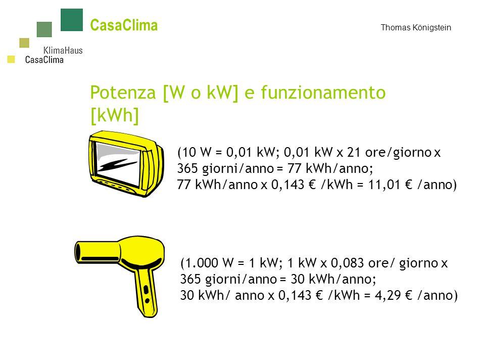 CasaClima Thomas Königstein Potenza [W o kW] e funzionamento [kWh] (10 W = 0,01 kW; 0,01 kW x 21 ore/giorno x 365 giorni/anno = 77 kWh/anno; 77 kWh/anno x 0,143 /kWh = 11,01 /anno) (1.000 W = 1 kW; 1 kW x 0,083 ore/ giorno x 365 giorni/anno = 30 kWh/anno; 30 kWh/ anno x 0,143 /kWh = 4,29 /anno)