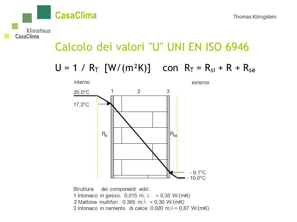 CasaClima Thomas Königstein Calcolo dei valori U UNI EN ISO 6946 U = 1 / R T [W/(m²K)] con R T = R si + R + R se 20,0°C 1 17,3°C -10,0°C 23 interno esterno -9,1°C R se R si Strutturadei componenti edili: 1 Intonaco in gesso: 0,015 m; = 0,35 W/(mK) 2 Mattone multifori : 0,365 m; = 0,30 W/(mK) 3 Intonaco in cemento di calce: 0,020 m; = 0,87 W/(mK)