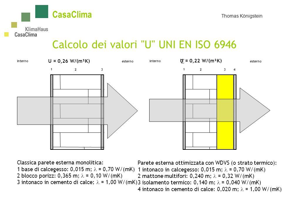 CasaClima Thomas Königstein Calcolo dei valori U UNI EN ISO 6946 1 23 interno esterno 1 24 interno esterno 3 U = 0,26 W/(m²K) U = 0,22 W/(m²K) Classica parete esterna monolitica: 1 base di calcegesso: 0,015 m; = 0,70 W/(mK) 2 blocco porizz: 0,365 m; = 0,10 W/(mK) 3 intonaco in cemento di calce; = 1,00 W/(mK) Parete esterna ottimizzata con WDVS (o strato termico): 1 intonaco in calcegesso: 0,015 m; = 0,70 W/(mK) 2 mattone multifori: 0,240 m; = 0,32 W/(mK) 3 isolamento termico: 0,140 m; = 0,040 W/(mK) 4 intonaco in cemento di calce: 0,020 m; = 1,00 W/(mK)