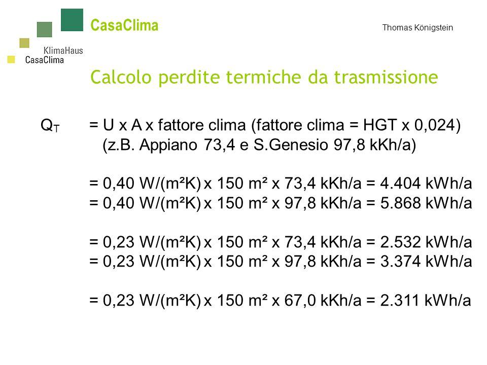 CasaClima Thomas Königstein Calcolo perdite termiche da trasmissione Q T = U x A x fattore clima (fattore clima = HGT x 0,024) (z.B.