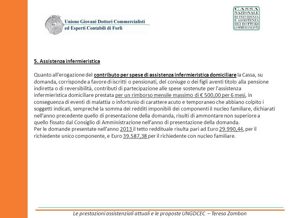 5. Assistenza infermieristica Quanto allerogazione del contributo per spese di assistenza infermieristica domiciliare la Cassa, su domanda, corrispond