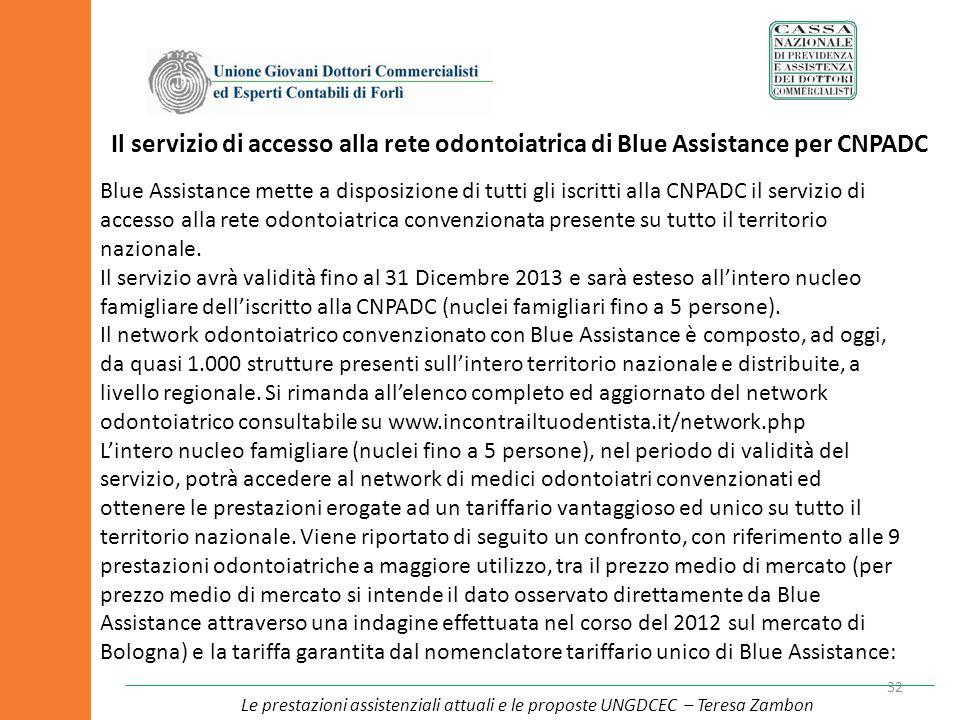 Il servizio di accesso alla rete odontoiatrica di Blue Assistance per CNPADC 32 Blue Assistance mette a disposizione di tutti gli iscritti alla CNPADC