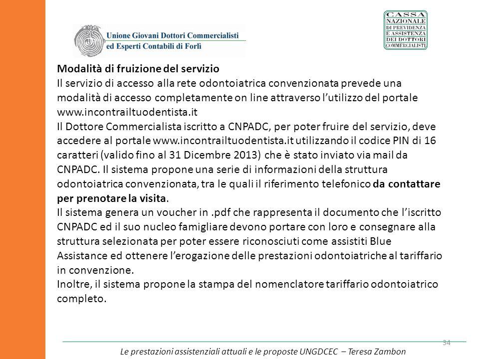 34 Modalità di fruizione del servizio Il servizio di accesso alla rete odontoiatrica convenzionata prevede una modalità di accesso completamente on li
