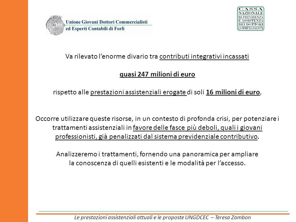 Va rilevato lenorme divario tra contributi integrativi incassati quasi 247 milioni di euro rispetto alle prestazioni assistenziali erogate di soli 16