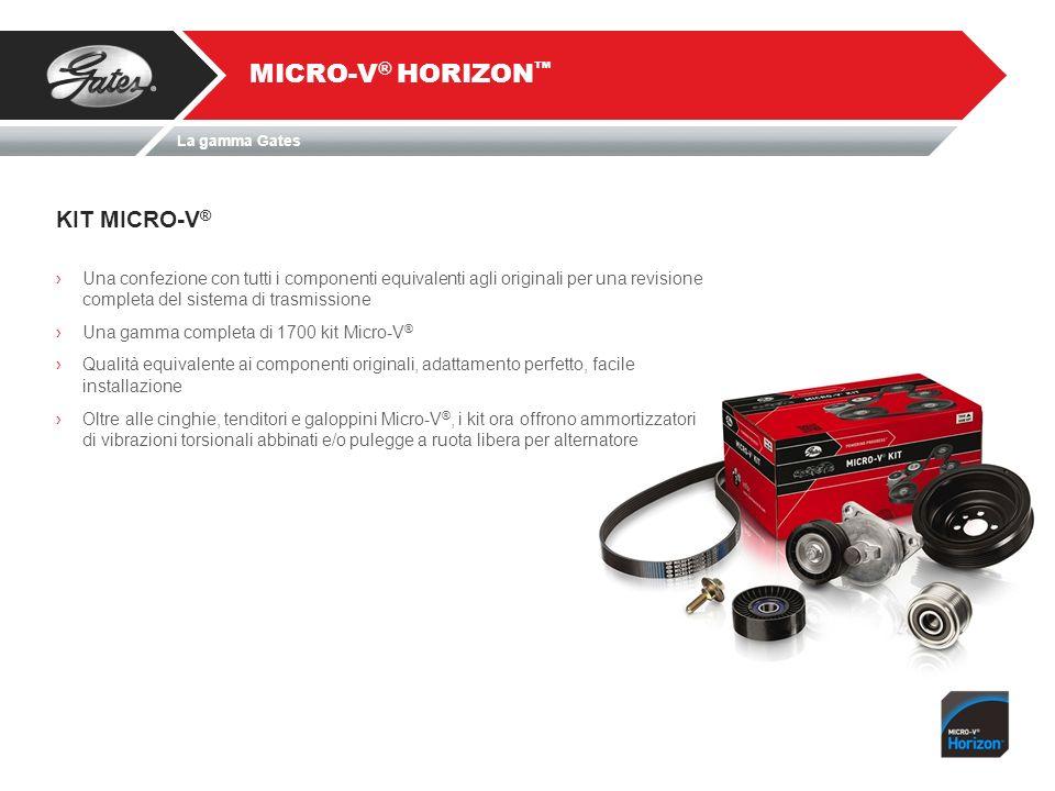 La gamma Gates KIT MICRO-V ® MICRO-V ® HORIZON Una confezione con tutti i componenti equivalenti agli originali per una revisione completa del sistema