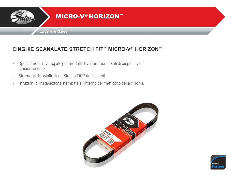 CINGHIE SCANALATE STRETCH FIT MICRO-V ® HORIZON MICRO-V ® HORIZON Specialmente sviluppate per modelli di vetture non dotati di dispositivo di tensiona