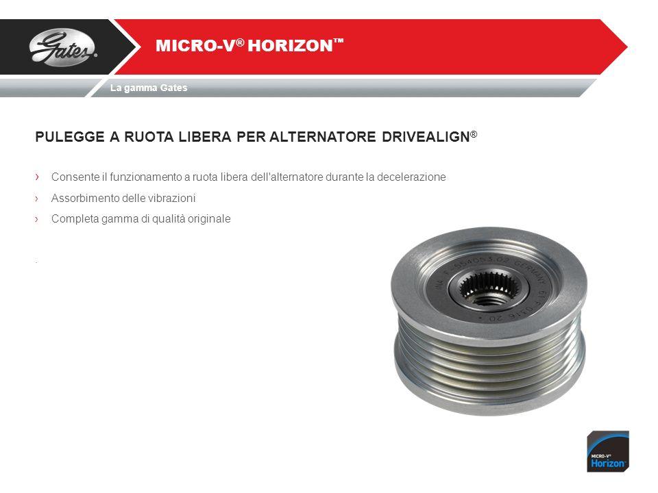 PULEGGE A RUOTA LIBERA PER ALTERNATORE DRIVEALIGN ® MICRO-V ® HORIZON Consente il funzionamento a ruota libera dell alternatore durante la decelerazione Assorbimento delle vibrazioni Completa gamma di qualità originale.