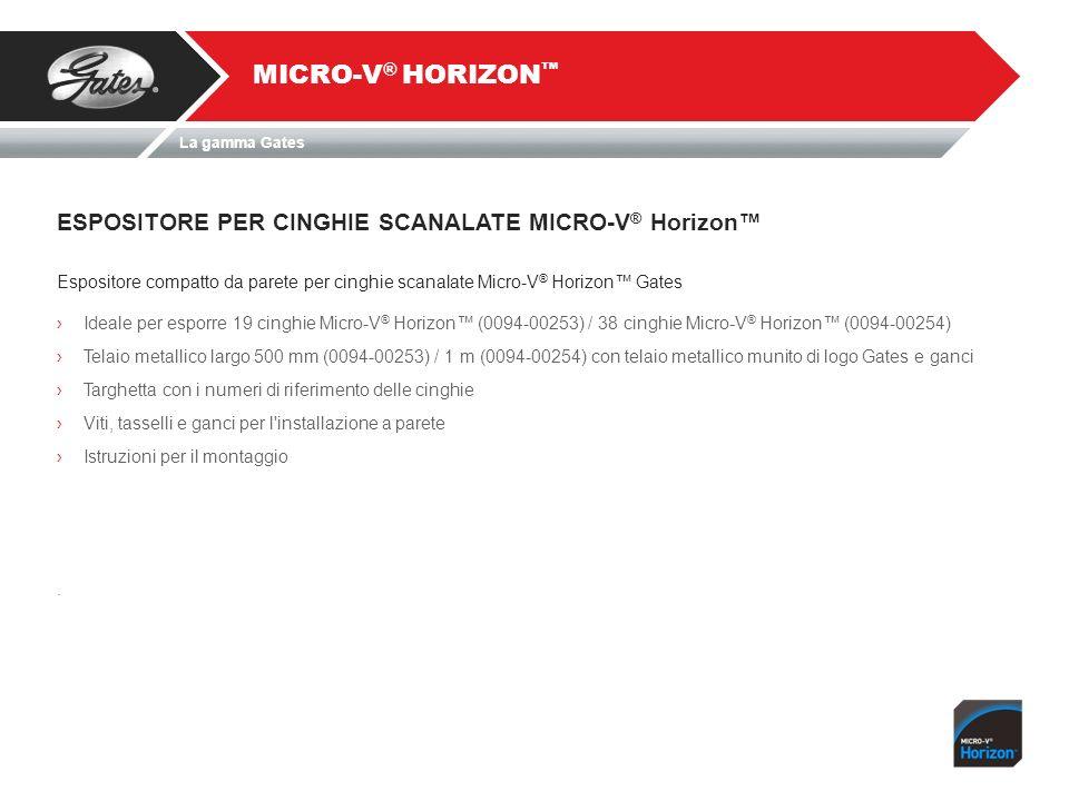 ESPOSITORE PER CINGHIE SCANALATE MICRO-V ® Horizon MICRO-V ® HORIZON Espositore compatto da parete per cinghie scanalate Micro-V ® Horizon Gates Ideal