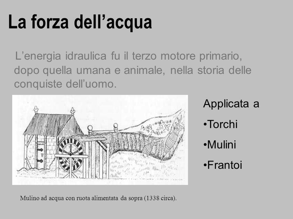 La forza dellacqua Lenergia idraulica fu il terzo motore primario, dopo quella umana e animale, nella storia delle conquiste delluomo. Mulino ad acqua