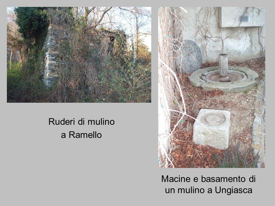 Ruderi di mulino a Ramello Macine e basamento di un mulino a Ungiasca