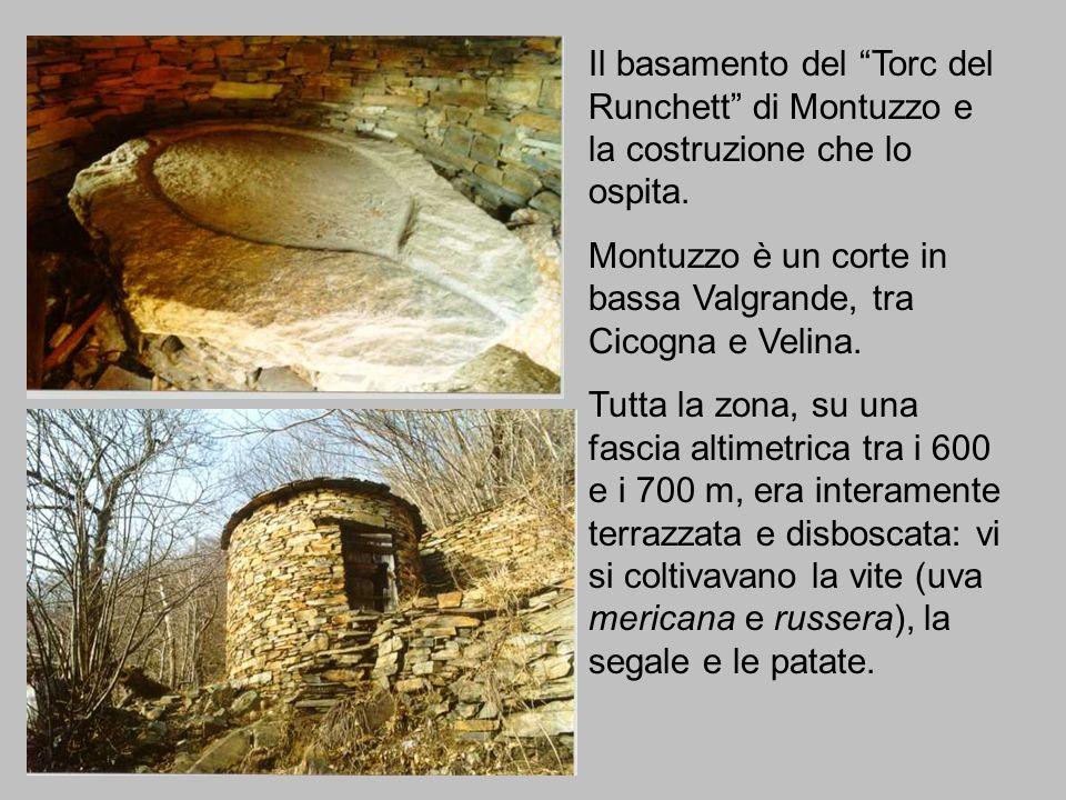 Il basamento del Torc del Runchett di Montuzzo e la costruzione che lo ospita. Montuzzo è un corte in bassa Valgrande, tra Cicogna e Velina. Tutta la
